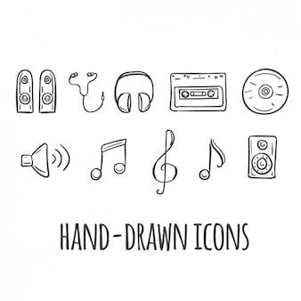 mão música ícones desenhada
