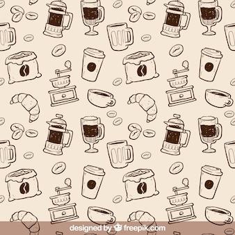 Mão padrão de café desenhada
