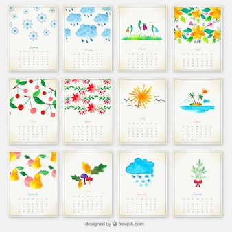 Mão pintado calendário anual