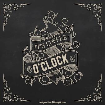 Mão poster retro desenhado café