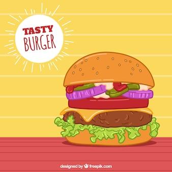 Mão, puxado, fundo, apetitoso, hambúrguer