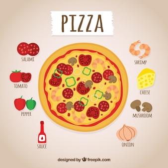 Mão receita de pizza desenhada
