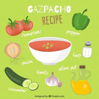 Mão receita gazpacho desenhada