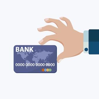 Mão, segurando, crédito, cartão