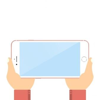 Mão segurando o smartphone preto tocar a tela em branco