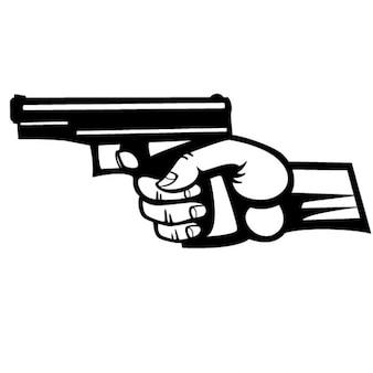 Mão segurando uma ilustração do vetor da pistola