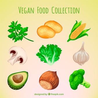 Mão seleção pintada de alimentos vegan