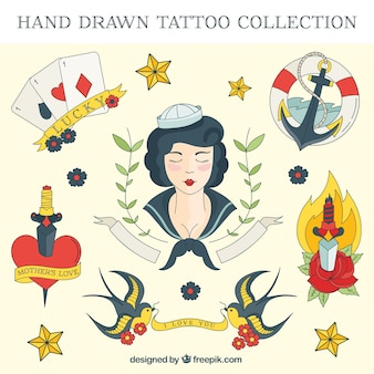 Mão set tatuagem marinheiro colorido desenhado