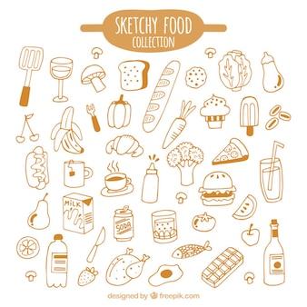 Mão tipo desenhada de alimentos pacote