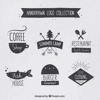 Mão variedade desenhada de logos definido no estilo do vintage