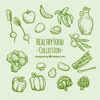 Mão verde desenhado set alimentos saudáveis