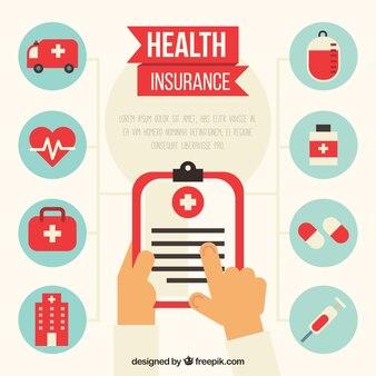 Mãos com clipboard e ícones de saúde