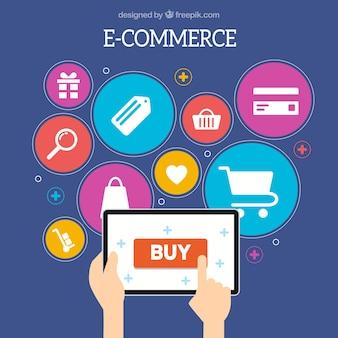 Mãos comprando com ícones de tablet e compras