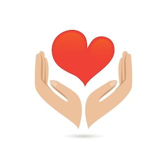 Mãos segurando coração vermelho amor cuidado família protegem poster ilustração vetorial