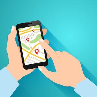 Mãos segurando o smartphone com a ilustração do vetor do aplicativo de navegação em execução
