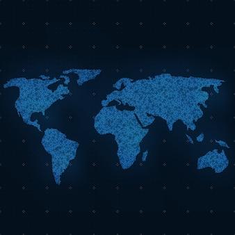 Mapa abstrato mundial. Fundo do vetor. Cartão de estilo futurista. Fundo elegante para apresentações empresariais. Linhas, pontos, planos no espaço 3d.