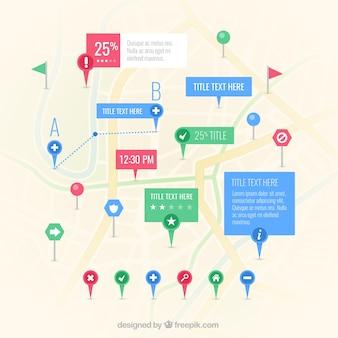 Mapa com muitos ponteiro