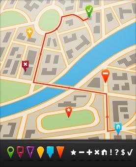 Mapa da cidade com ícones de navegação