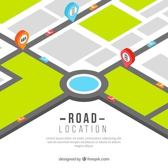 Mapa de estrada com ponteiros