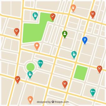 Mapa de ruas com design de pinos