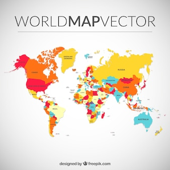 Mapa do mundo colorido