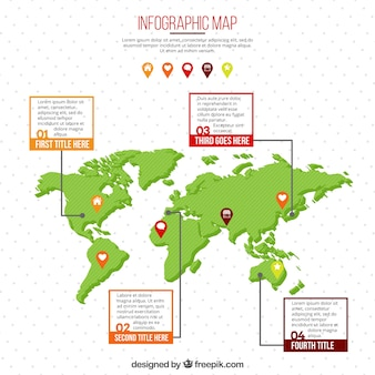 Mapa do mundo com caixas de texto