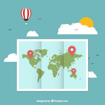 Mapa do mundo com ponteiros