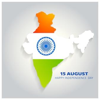 Mapa do país indiano com letras do Dia da Independência