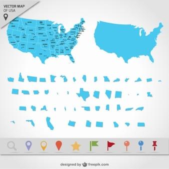 Mapa dos EUA estados