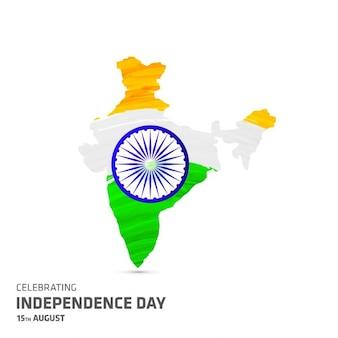 Mapa indiano em tricolors nacionais com Asoka roda