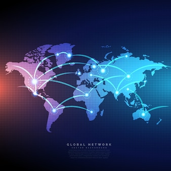 Mapa mundo digital ligados por conexões linhas de design de rede