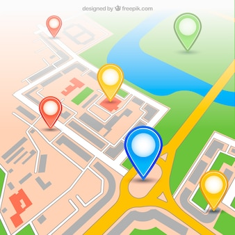 Mapa urbano dos gps com pinos