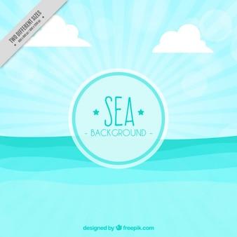 Mar com as ondas de fundo em design plano