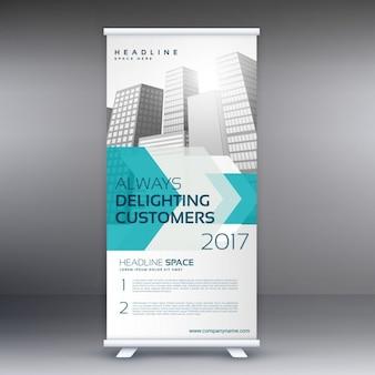 Marketing da empresa roll-up modelo de desenho da bandeira