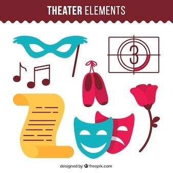 Máscara conjunto e outros elementos de teatro
