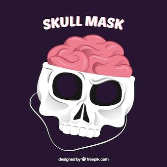 Máscara de crânio com cérebro