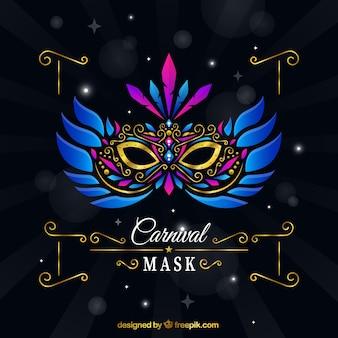 Máscara do carnaval elegante com penas