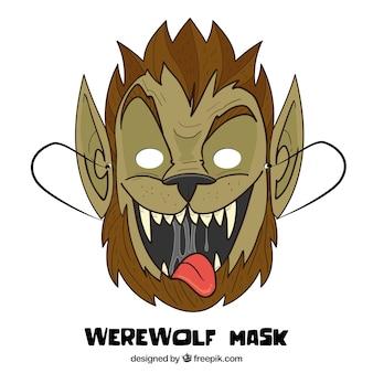 Máscara engraçada do homem-lobo desenhada a mão