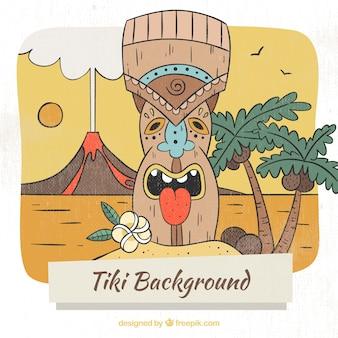 Máscara tiki étnica com vulcão e palmeiras