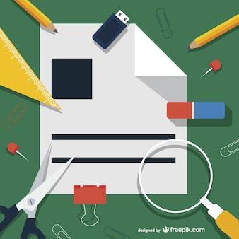 Material de escritório ilustração
