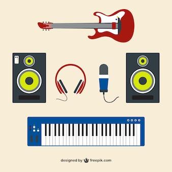 Material de guitarra e estúdio de música