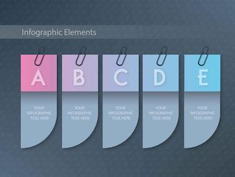 Matizes de cores de cabide cortadas infográficos com cinco passos