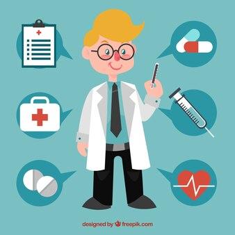 Médico profissional com elementos médicos