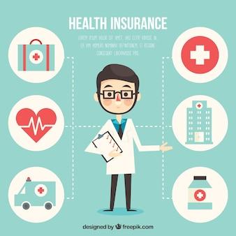 Médico profissional e ícones médicos