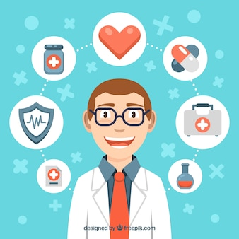 Médico sorridente com elemento de saúde ao redor