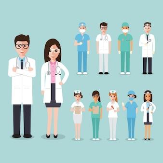 Médicos, cirurgiões e enfermeiros