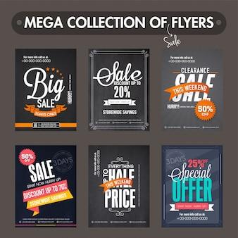 Mega coleção de Big Sale e Desconto panfletos, modelos e design banners