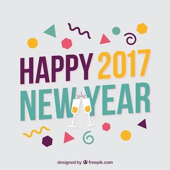 Memphis estilo feliz ano novo 2017 de fundo