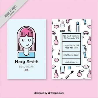 Menina agradável e esboços elementos cartão de esteticista