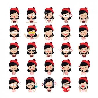 Menina avatares coleção